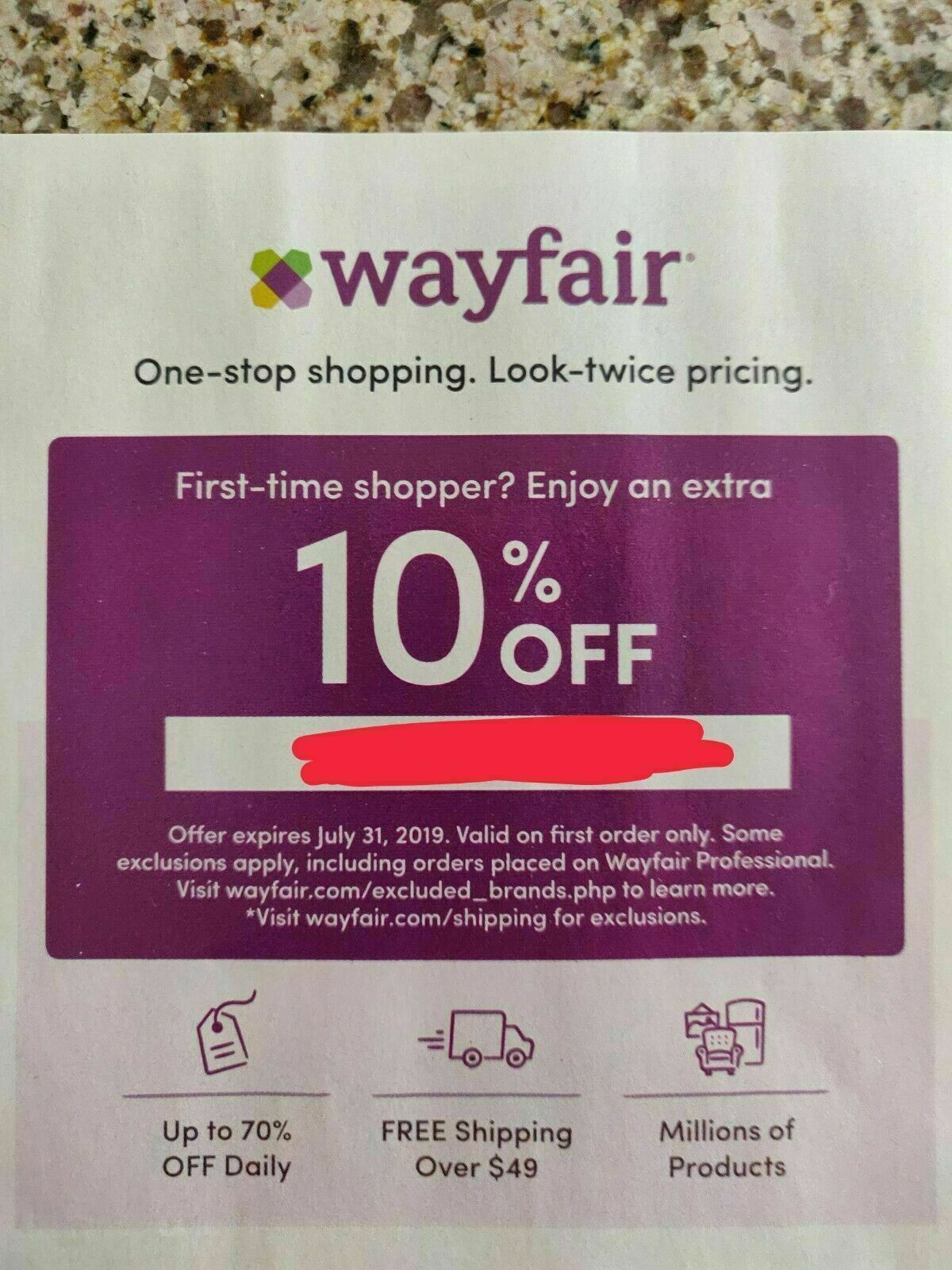 Wayfair Coupon 10 Off - First Time Shopper - Expires 5/15/21 - $1.99