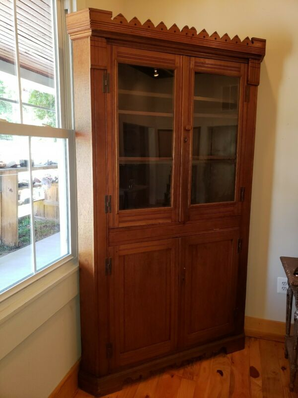 Antique Eastlake Corner Cupboard Cabinet Hutch China Closet Walnut
