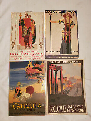 4 Vintage Early 1900s Italian Travel Opera Music Advertising Print Poster Lot