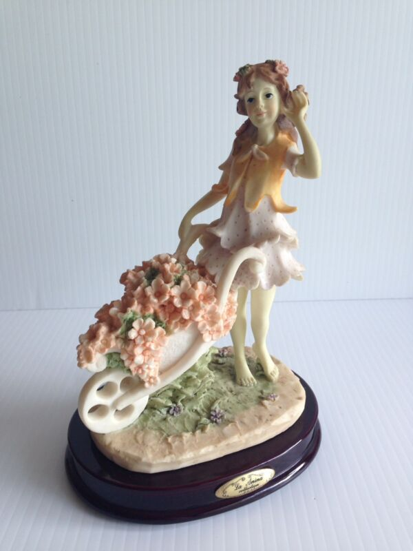 GENUINE+ROSE+%22LA+ANINA+COLLECTION%22+ALABASTER+ART+GIRL+WITH+FLOWERS+CART+FIGURINE