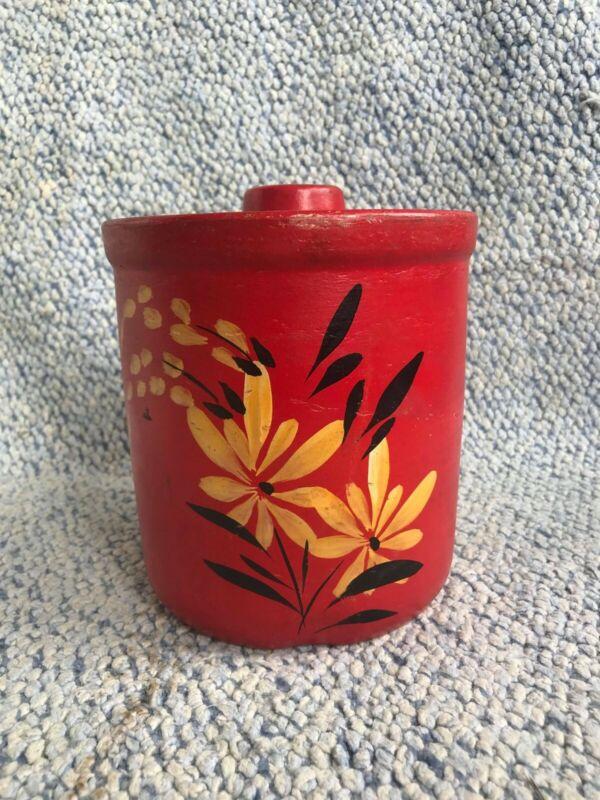 Vintage Robinson Ransbottom Yellow Ware Cookie Jar