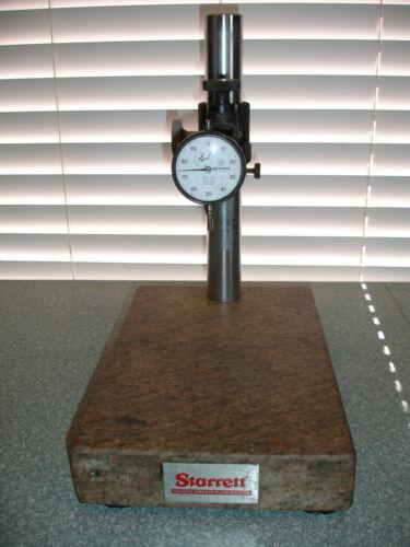 """Starrett Granite Surface Plate Indicator Stand 12"""" X 8"""" w/ Mitutoyo 2410-60 dial"""