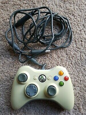 Official Microsoft Xbox 360 White Wired Gaming Controller Tested Works OEM