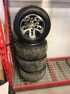 "Used Golf Cart Alum Wheel & Tires 10"" 205x50-10"