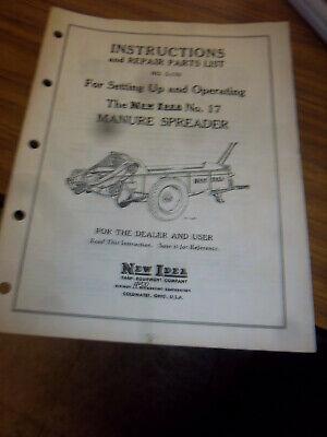 New Idea 17 Manure Spreader Repair Partsoperator Manualdealer Original1958