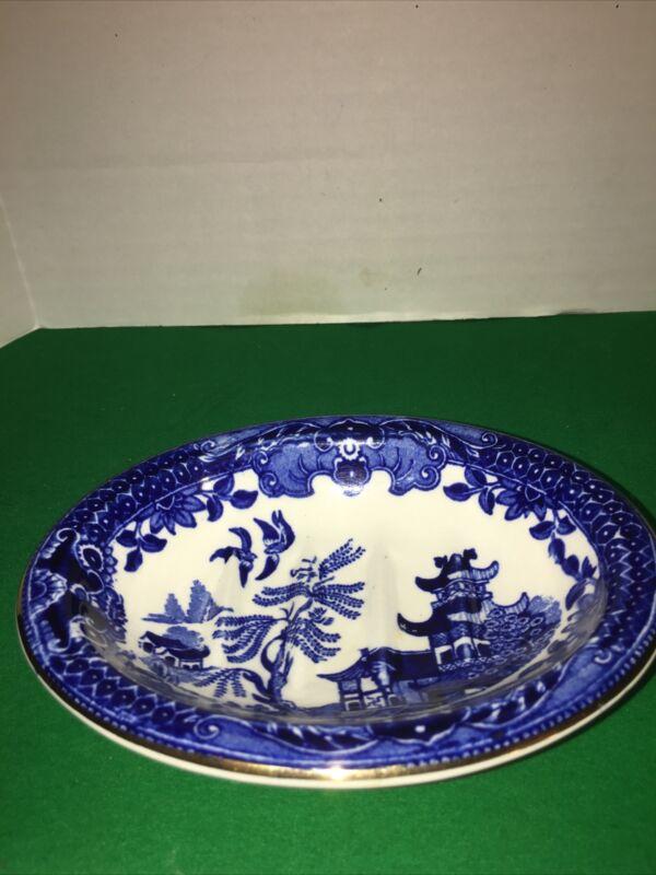 Burleigh Ware Willow Burslem England Vintage China Dish Bowl