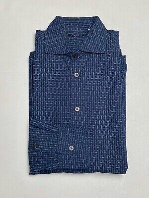 Sartorio by Kiton NAPOLI Men's Navy Pattern Shirt, size 15/38, Made in Italy
