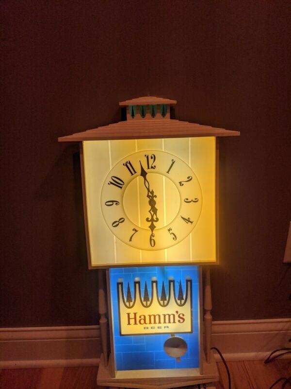 Vintage Hamms Beer Clock Sign Pendulum Motion Bar Light Advertisement