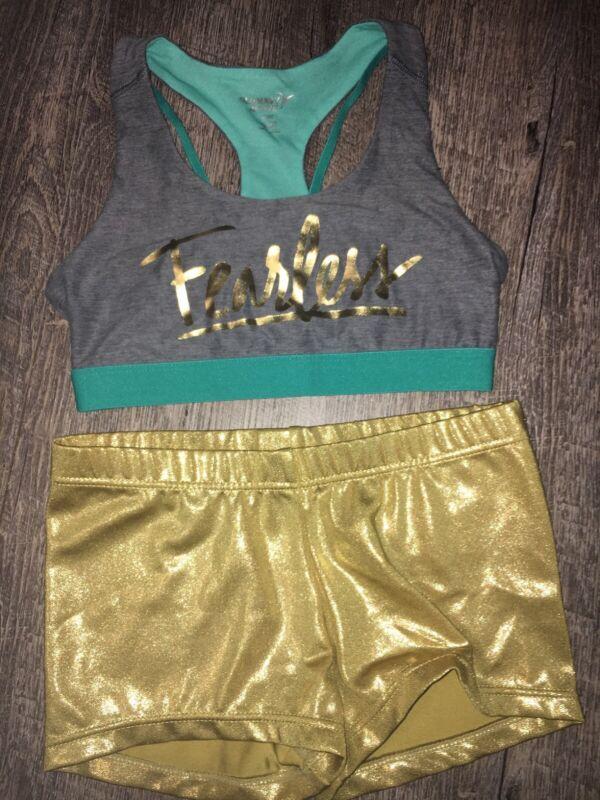 Old Navy Sz 8 Sports Fearless Bra Mc Gold Balera Dance Shorts Guc Lot
