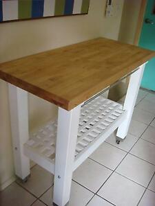 Large kitchen trolley with solid wood bench top on wheels Keperra Brisbane North West Preview