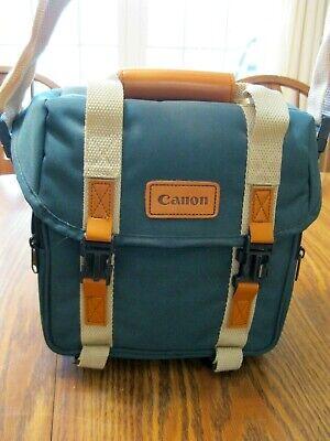Canon Camera Case Tan Canvas Leather Retro Vintage ShoulderV Bag Excellent Cond.