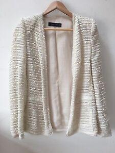 Womens, cream, tweed blazer, size m, Zara