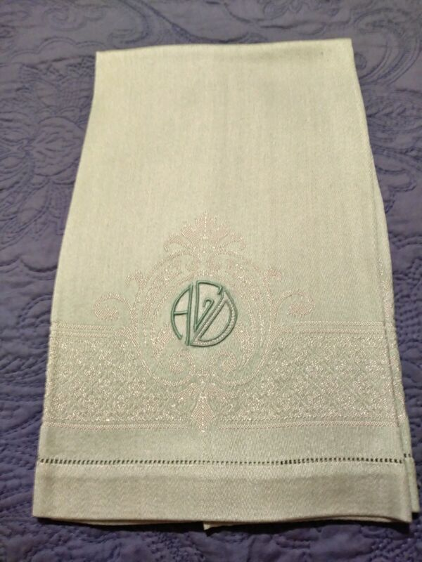 """Green Damask Polyester Towel 22"""" by 15"""" Hemstitched Embroidered Initials """"AGD"""""""