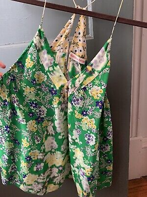 Rebecca Taylor 6 Green Floral Cami Tank Slik Anthropologie