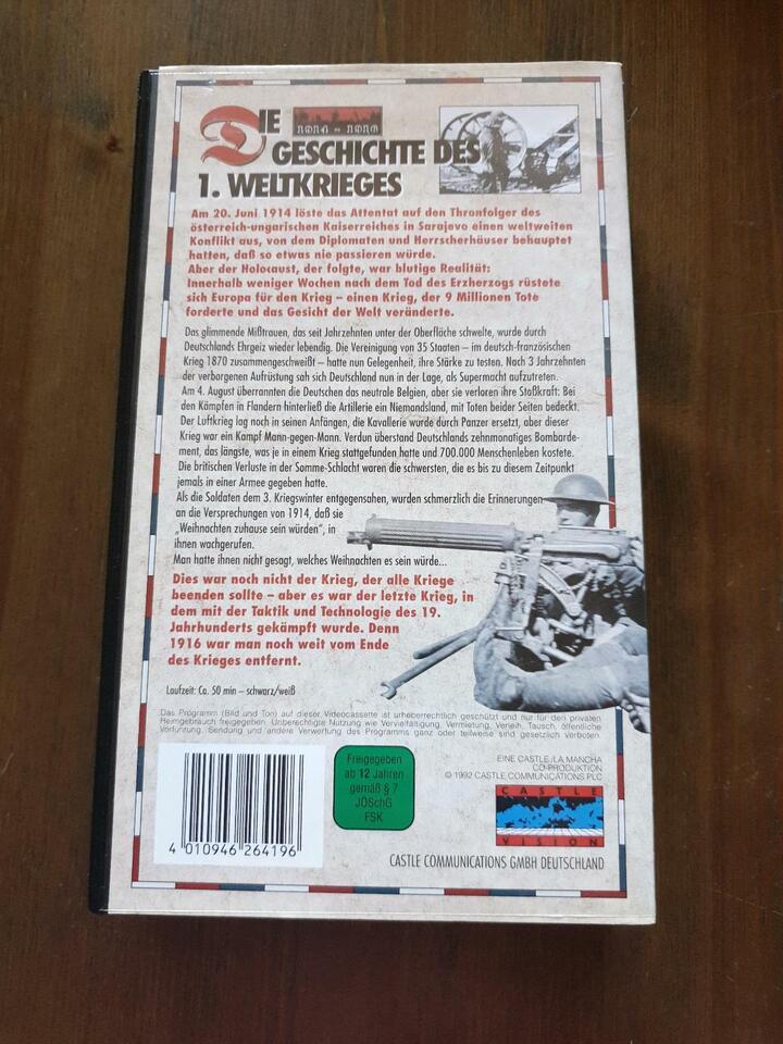 Die Geschichte des 1. Weltkrieges, 2 Video kassetten in Niedersachsen - Drochtersen