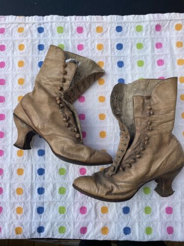 Antique Vintage Victorian Edwardian leather boots XS