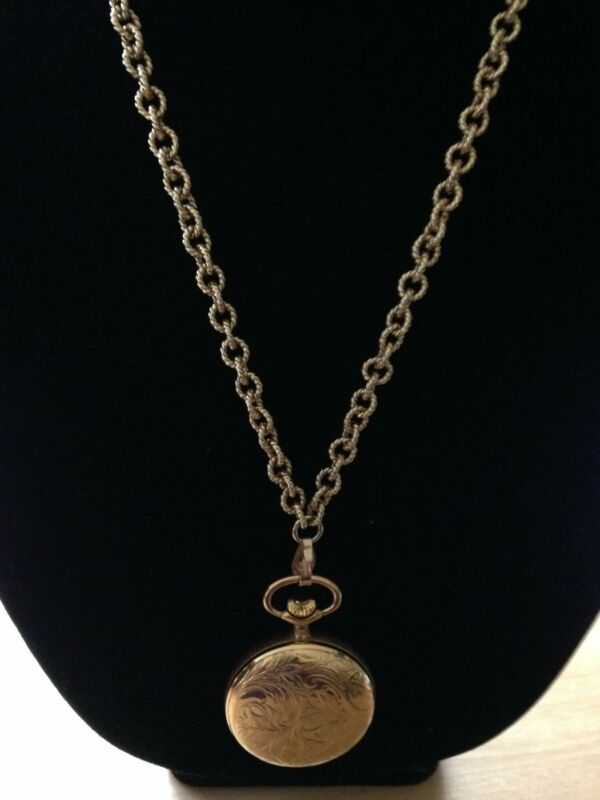 Pendant Watch on Gold Tone Chain, Caravelle