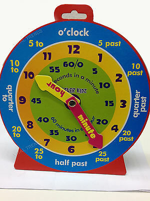 CHILDREN'S TEACHING CLOCK FOR LEARNING TO TELL THE TIME MAGNETIC BACK NEW