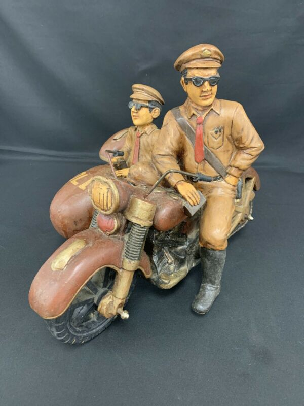 RARE Resin Police Motorcycle W/Side Car VINTAGE Statue Large Collectible