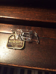 Bond-Boyd Sterling Silver Music Broach and Glass Cube