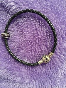 PANDORA Black Leather Braclet and Charm Redcliffe Belmont Area Preview