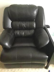 sofa 3 piece black leather - Black Leather Recliner Chair