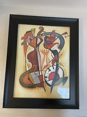 Abstract Art Wild Party by Alfred a Gockel Print Framed 19x15