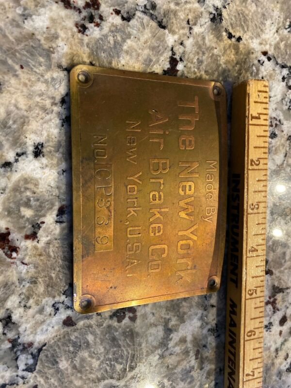 The New York Air Brake Co Antique Brass Machine Plate New York Usa Embossed