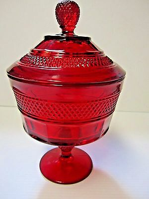 "Vintage Ruby Red Stemmed Covered Candy Dish Pedestal and Finial 9.5"" Diamond"