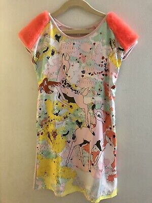 Anne Kurris Silk, Pink Lame & Neon Fur Dress SZ12Y Couture Garment