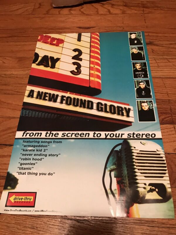 NEW FOUND GLORY Rare 2000 POSTER From The Screen To Your Stereo NFG vinyl Shirt