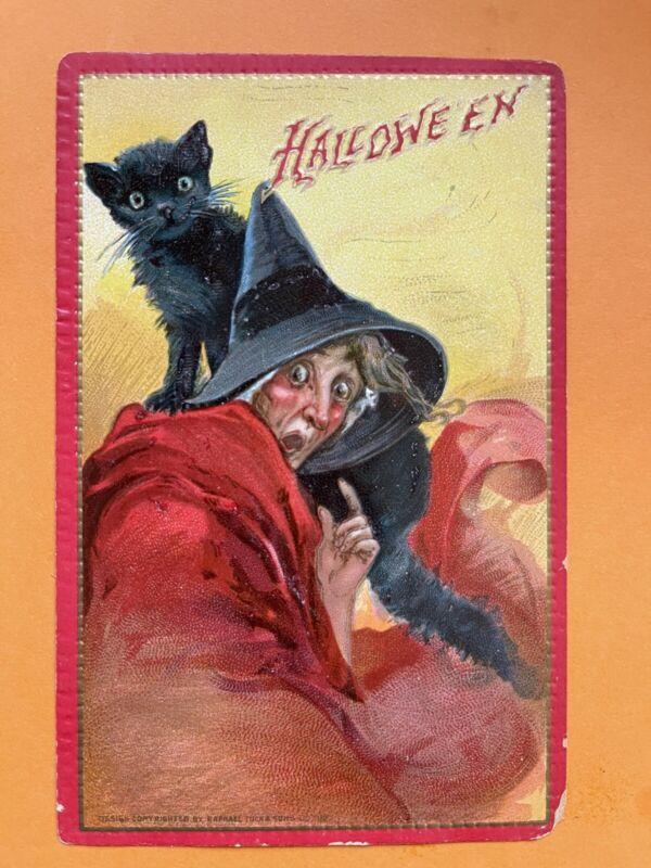Halloween Vintage Tuck Postcard,Surprised Witch, Black Cat Frances Brundage
