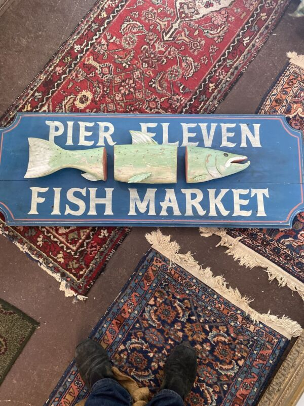 Awesome Pier 11 Fish Market Carved Sign Antique Vintage Wooden Wood