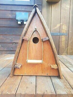 Rustic Teak hand crafted Bird House Blue Tit Sparrow Nesting Box