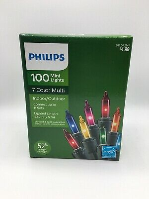 Philips 100ct Mini Lights 7 Color Multi, Red, Blue, Purple, Yellow, Green, (100 Yellow Mini Lights)