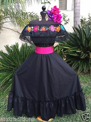 Mexican Dress Fiesta,Day of The Dead,5 De Mayo,Wedding Black 2Pc w/Sm Pink Sash - Day Of The Dead Attire