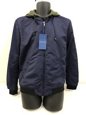 Zara Man Basic Collection Size Large Bomber Jacket Built in Hoodie Full Zip