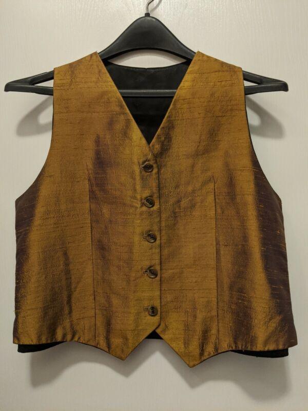 Beautiful Raw Silk Copper Saddleseat Vest size M