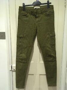 Clockhouse Skinny Leg Khaki Green Ladies Combat Soft Touch Jeans Size 10/12