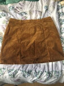 Women's large brown corduroy fitted skirt