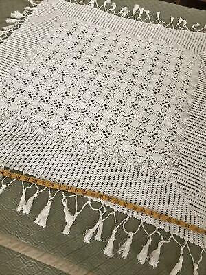 Home Decor Deep Violet Hand Crocheted Trellis Light Weight Afghan Throw Blanket