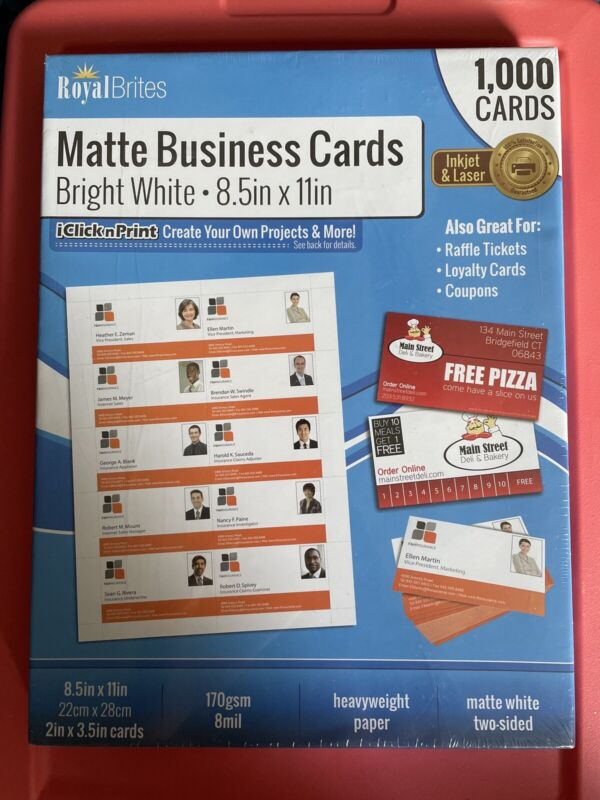 NEW Royal Brites White Matte Business Cards 2 x 3.5 Inches Pack of 1000 #28992