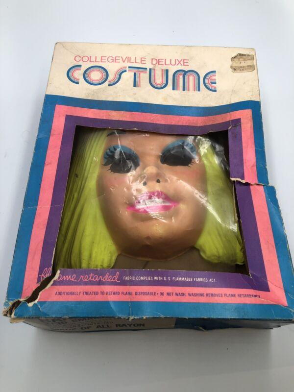Ben Cooper Official BARBIE 1971 Halloween Mask & Box SMALL 4-6 Collegeville VTG