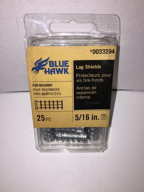 """NEW Blue Hawk Masonry Lag Shields 5/16"""" 25 Pc 1 Box 0033294"""