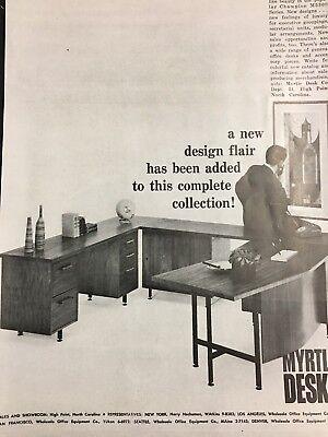 Vintage 1962 Myrtle Desk Modular Office Furniture Ad Mid Century Modern Style ()