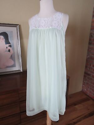 Vtg BABY DOLL Nightie Nylon lingerie MISS ELAINE double layer w lace Small eeuc