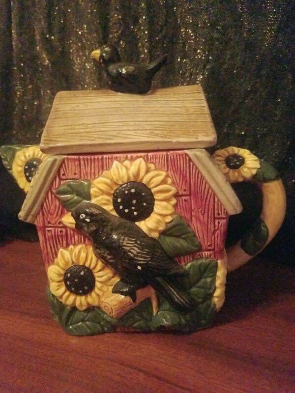 Vintage Collectible Ceramic  -Crows and Sunflowers Cookie Jar / Teapot