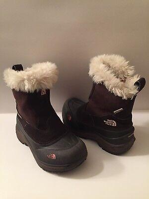 Girls The North Face Greenland Zip Brownie Brown/Pink Lemonade Boot 2M EUC