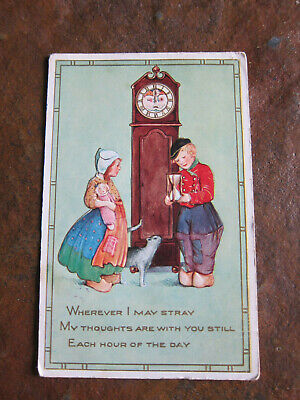 Vintage Postcard 1918 Dutch American Love Grandfather Clock Cat time
