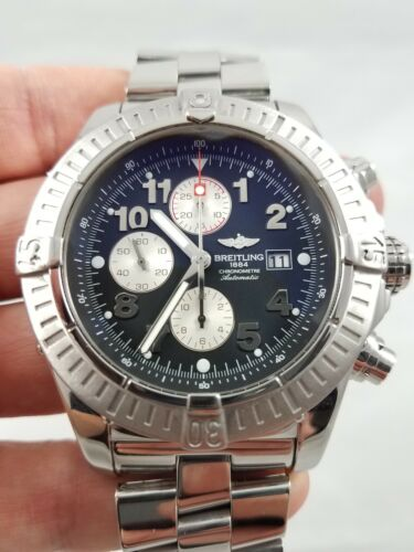 $1950.00 - Mens Breitling Super Avenger SS A13370 Black Arabic Dial 48mm Automatic